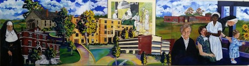 A mural displayed in the hospital depicts Mercy's expansion of health care since 1886.