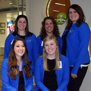 Mercy's Child Life Services (seated from left): Child Life Specialists Tailor Schlotzhauer and Cristin Herbort. 	Standing (from left): Child Life Manager Ashley Wilson and Child Life Specialists Mallorie Mendell and Kristi Donovan.