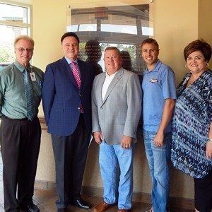Dave Steinmann, Mercy Hospital Lebanon administrator; Kennith Howe, hospital board chariman; Craig Curry; Brennon Willard, foundation chairman; Karen Simpson-Neasby, vice president of Mercy Health Foundation.