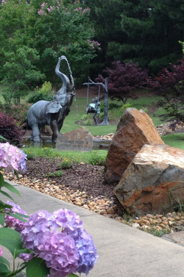 The garden at the Cooper-Anthony Mercy Child Advocacy Center is a favorite place for children receiving therapy.