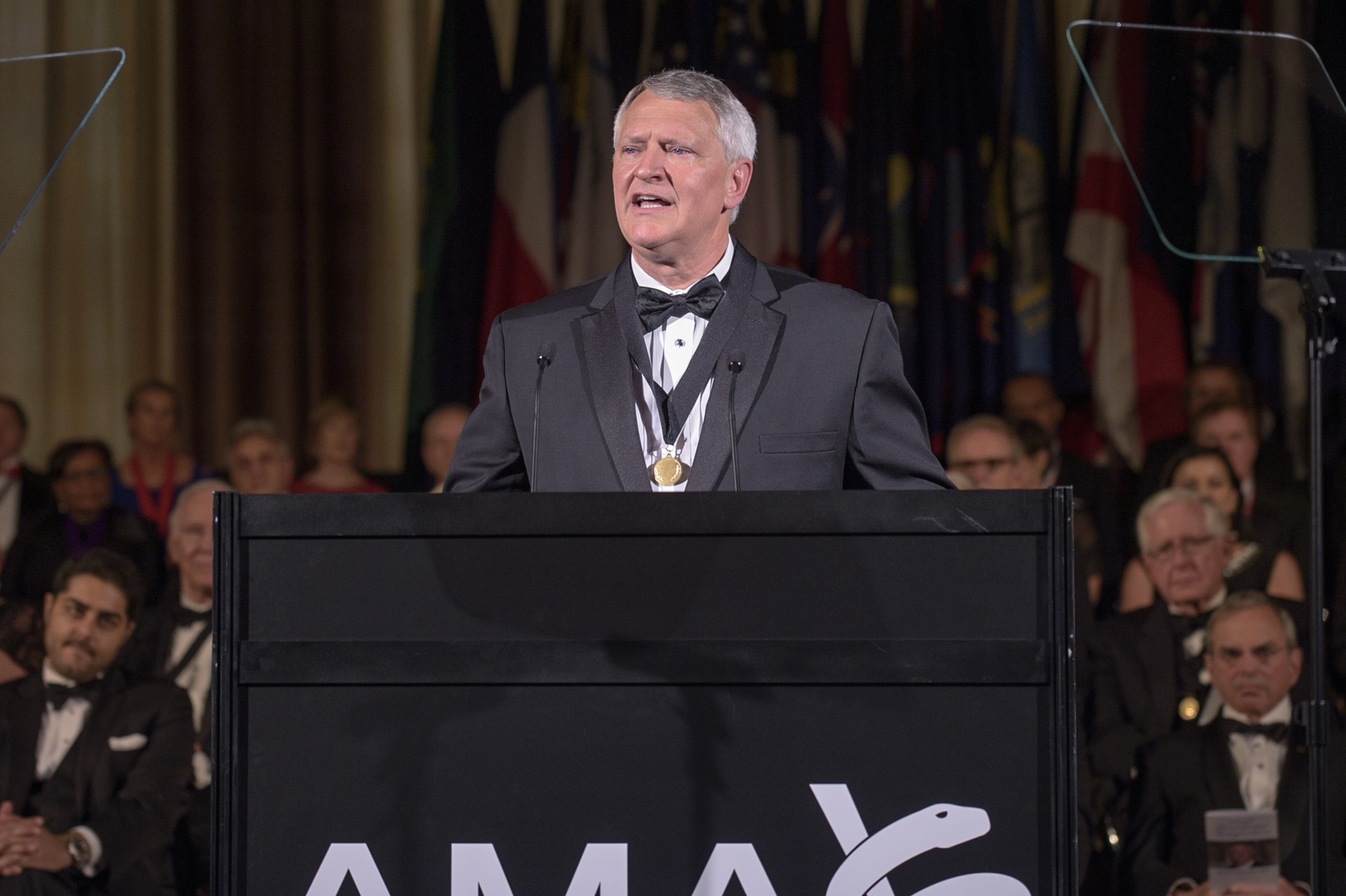 Dr. David Barbe, a Mercy physician from Mountain Grove, Missouri, addresses the American Medical Association House of Delegates just after taking the oath of office as the organization's president.