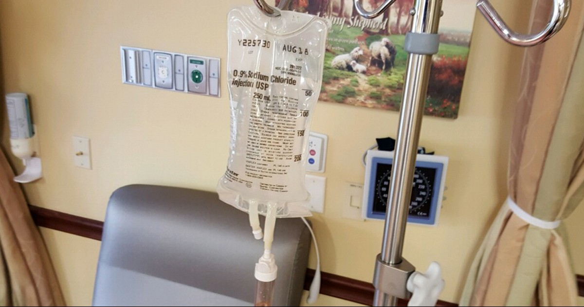 A chemotherapy infusion bag is ready for a patient's cancer treatment.