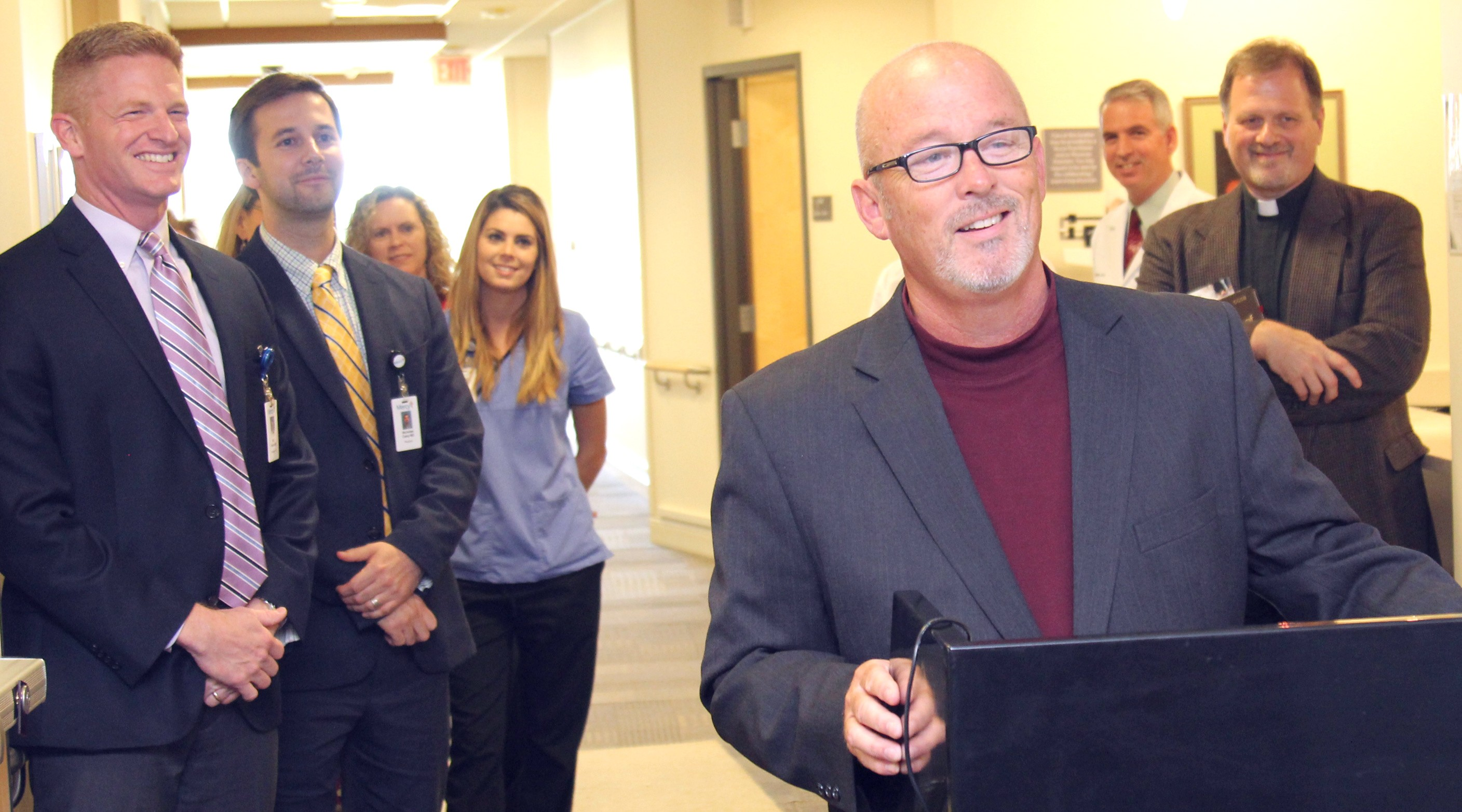 Scott Watson, administrator of Mercy Hospital Carthage, kicks off a ribbon cutting Sept. 28, 2017, for the expanded pain management clinic.