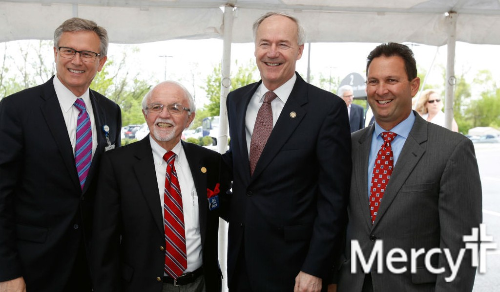 Mercy Clinic President Dr. Steve Goss, Mercy board member Dick Trammel, Gov. Asa Hutchinson and Mercy Hospital President Eric Pianalto at the announcement of Mercy Northwest Arkansas' $247 million expansion in April.