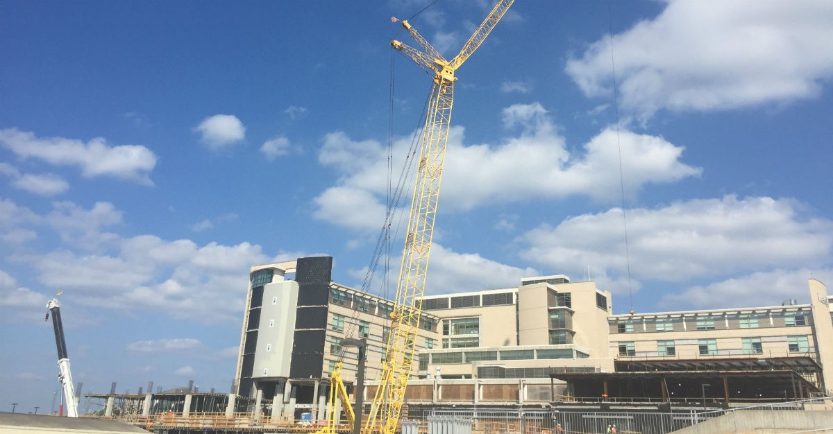 The construction site for Mercy Hospital Northwest Arkansas' new 7-story tower.