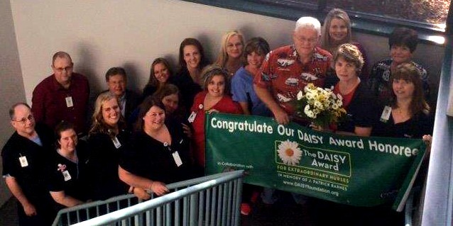 Pam Rupp and her co-workers celebrate at Mercy Hospital Cassville.