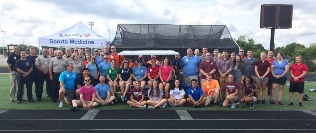 Mercy Sports Medicine's athletic trainers, along with the member of Mercy Emergency Medical Services and the Springfield Fire Department who participated in the 2017 drill.