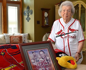 Elsie Fallert wearing her replica Stan Musial jersey like the ones she sewed more then 70 years ago.