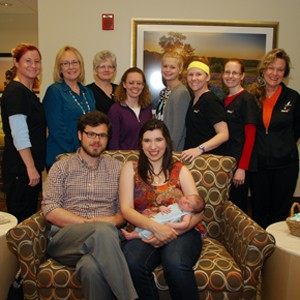 Derek, Eve and Luke Waffel stopped in to visit with Mercy Birthing Center staff
