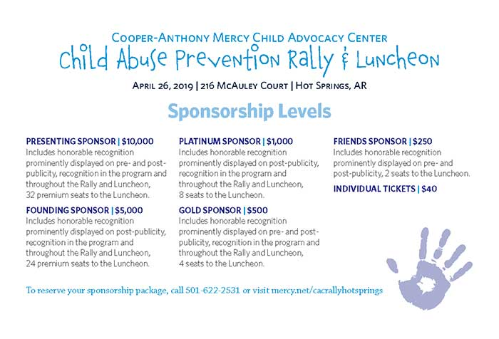 Child Abuse Prevention Rally & Luncheon Sponsorship Levels