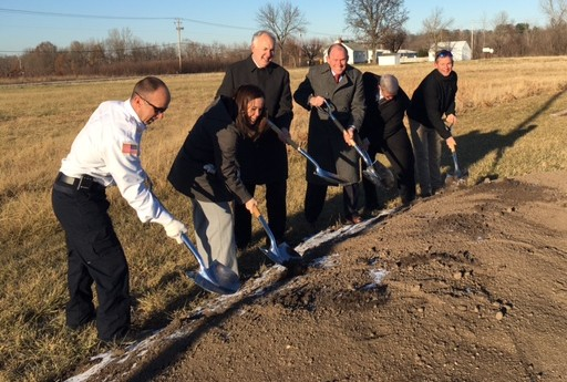 Mercy and community leader gathered to break ground for Unlimited Play's McAuley Playground in Cottleville, MO