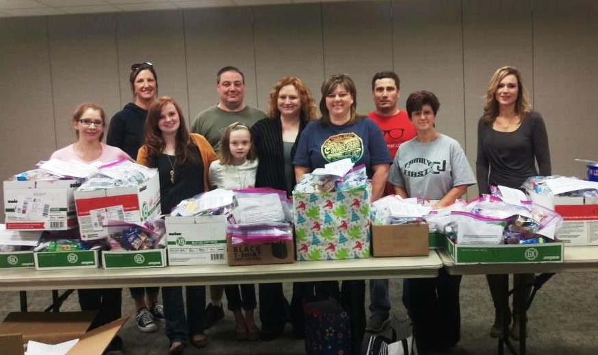 "Mercy co-workers donated enough items to assemble  over 250 ""blessing bags"" for the homeless."