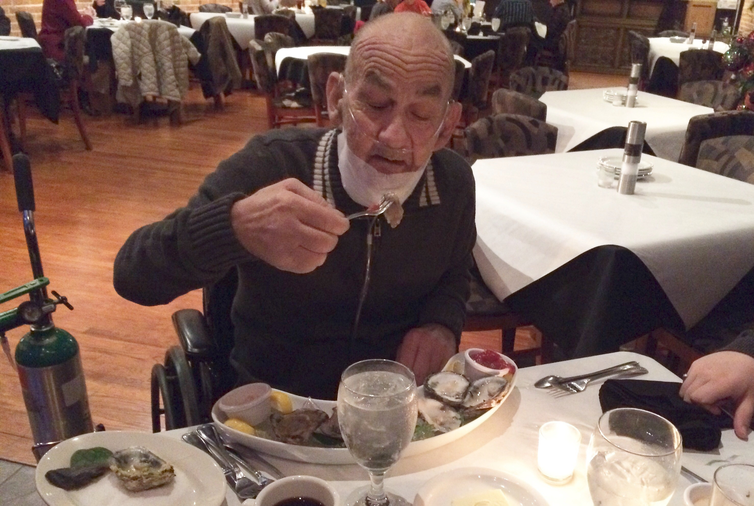 Ray Reynolds enjoyed a four-course meal including a half dozen oysters at Crooner's Lounge in Fort Scott