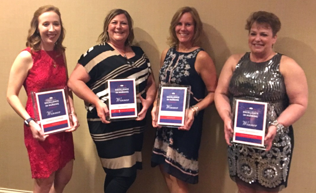 Four Mercy Finalists in STL Mag Excellence in Nursing 2017: Katie Pickering (Cardiovascular), Amy Flakes (Acute Care/Family Practice/General Med), Robyn Weilbacher (Nurse Administration) and Dawn Brandenberg (Community Care/Ambulatory Care).