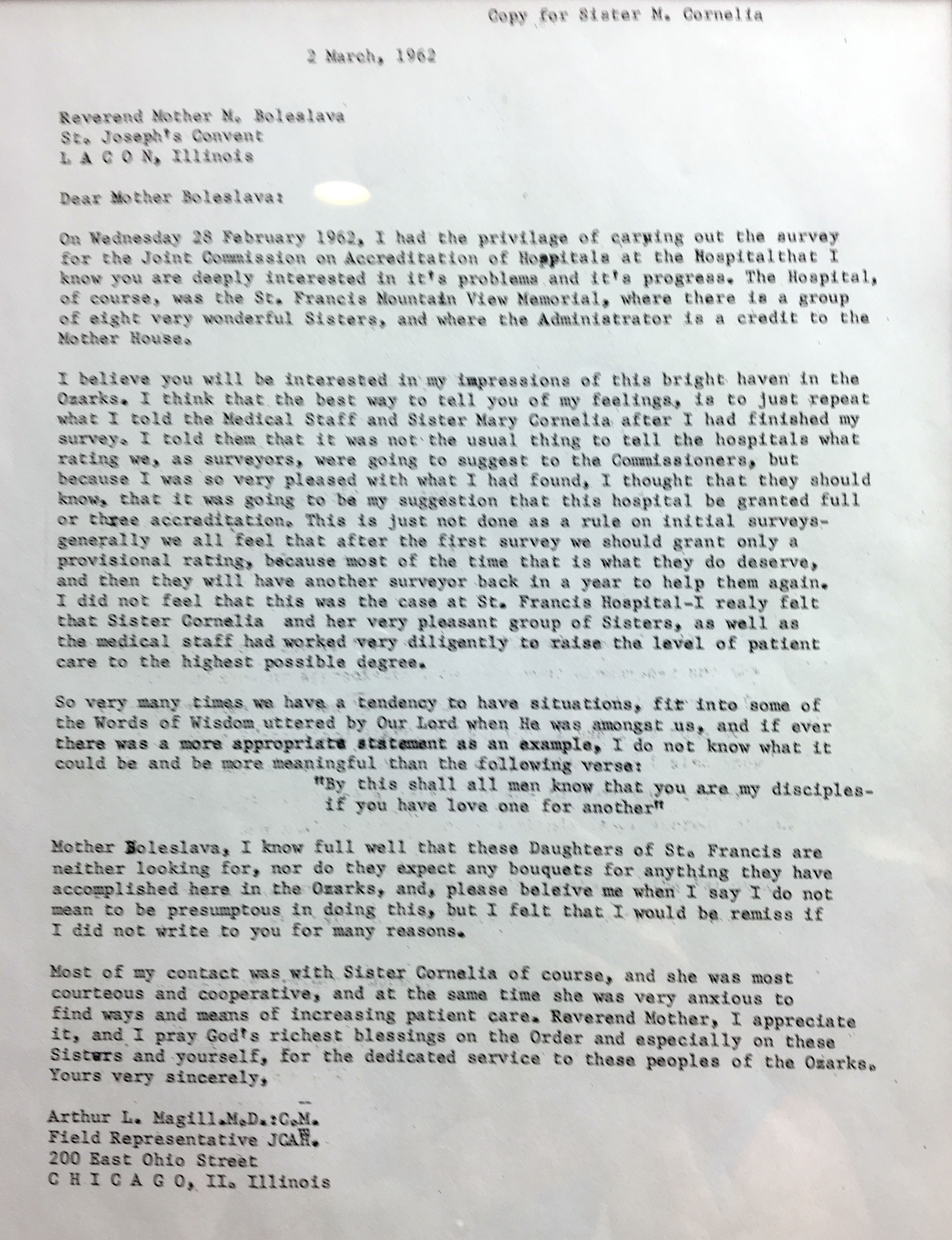 The original letter from Arthur L. Magill in March 1962.