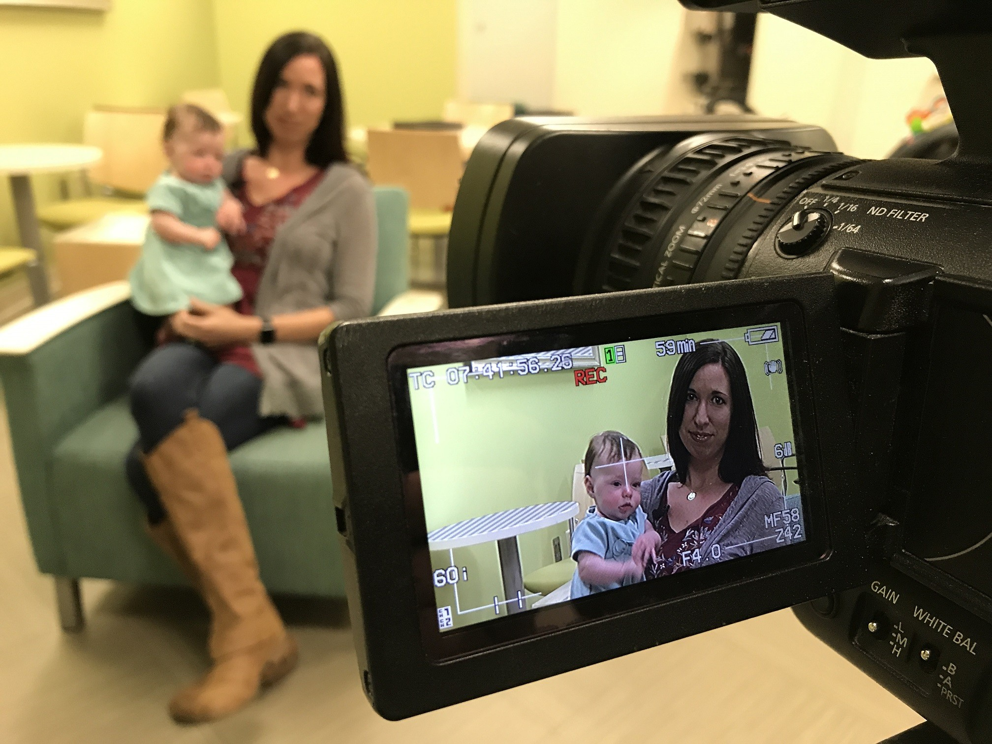 Labor and delivery nurse Heather Ulm and baby Adeline interview with KY3 News in Springfield, Missouri.