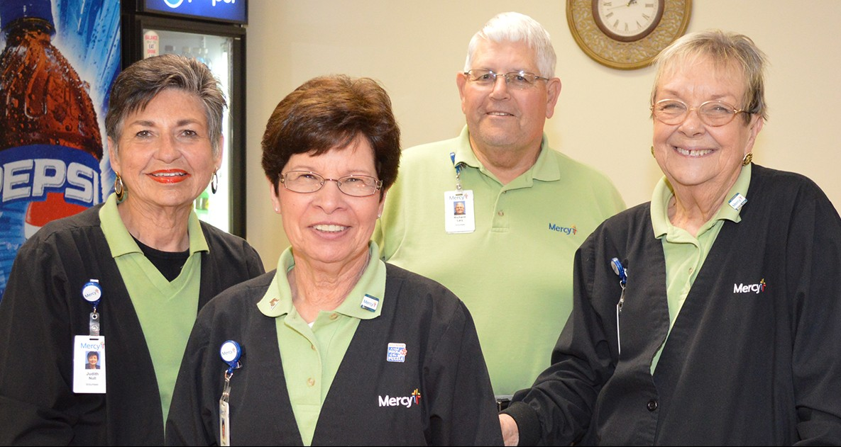Auxiliary members Judy Null, Margie Nahlik, Richard Lary and Barb Crawford welcome additional helping hands at Mercy Hospital Jefferson.