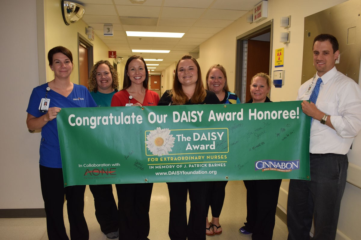 Nurse Kisha Murrell, fourth from left, was honored as one of Mercy Hospital Springfield's most recent DAISY award recipients.