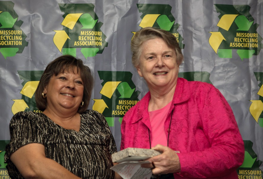 Mercy's Mary Cromeens (right) accepts Missouri Recycling Association award.