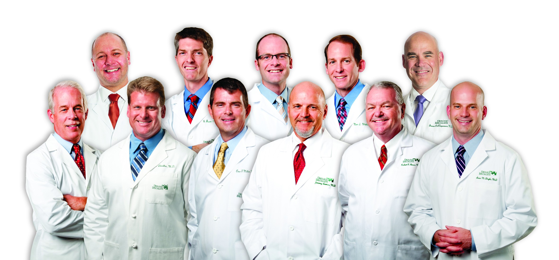 Front, from left, J. Steve Miller, MD, FACS; Scott Litwiller, MD, FACS; Oren Miller, MD, FACS, FAAP; W. Todd Brookover, MD; Robert R. Bruce, MD; Sean M. Doyle, MD. Back, from left, James B. McGeady, MD; W. Jason Cook, MD, FACS; Cole B. Davis, MD; Marc S. Milsten, MD, FACS; James O. L'Esperance, MD.