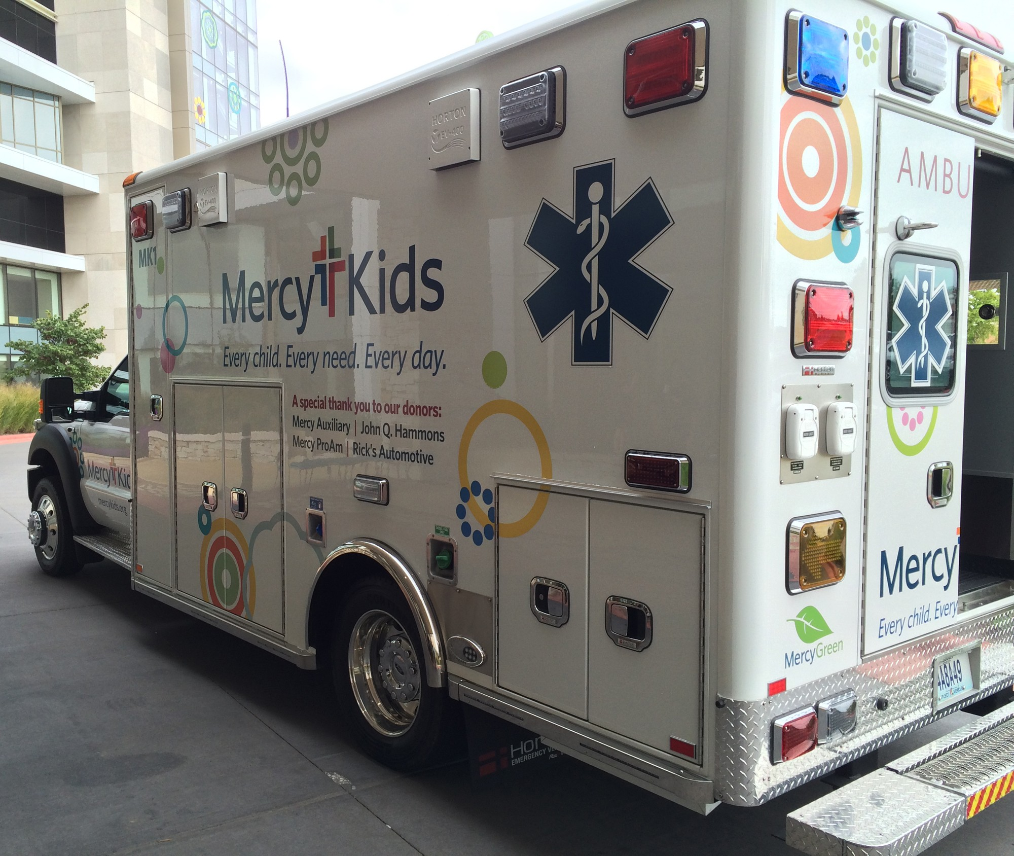The Mercy Kids Transport Unit has equipment specially designed for kids from premature babies all the way to 17 years old. Another great feature: there's room for parents to ride with their children in the back, easing anxiety for both.