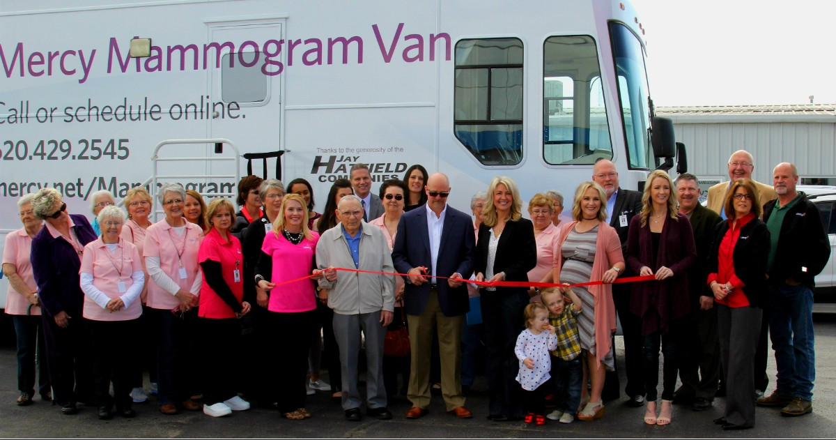 The Hatfield family and Mercy co-workers cut the ribbon Tuesday at Jay Hatfield Chevrolet Buick in Columbus for the Mercy mobile mammography van that has received an upgrade of digital equipment. Jay Hatfield Companies is donating $100,000 over five years to the Mercy Health Foundation to support the mobile mammography program.