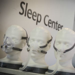 The sleep center offers a variety of masks in different styles and sizes to fit patients comfortably when using a continuous positive airway pressure (CPAP) machine.