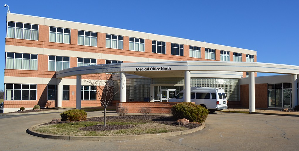 The atrium entrance to the North Medical Office is scheduled for demolition beginning May 15.