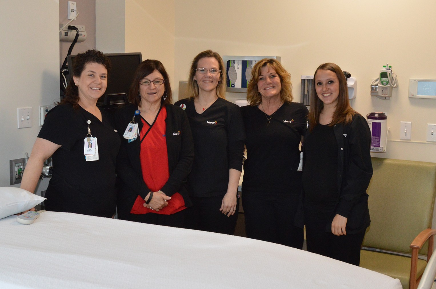 Nurses in the newly remodeled Mother/Baby Unit at Mercy Hosptial Jefferson welcome you.