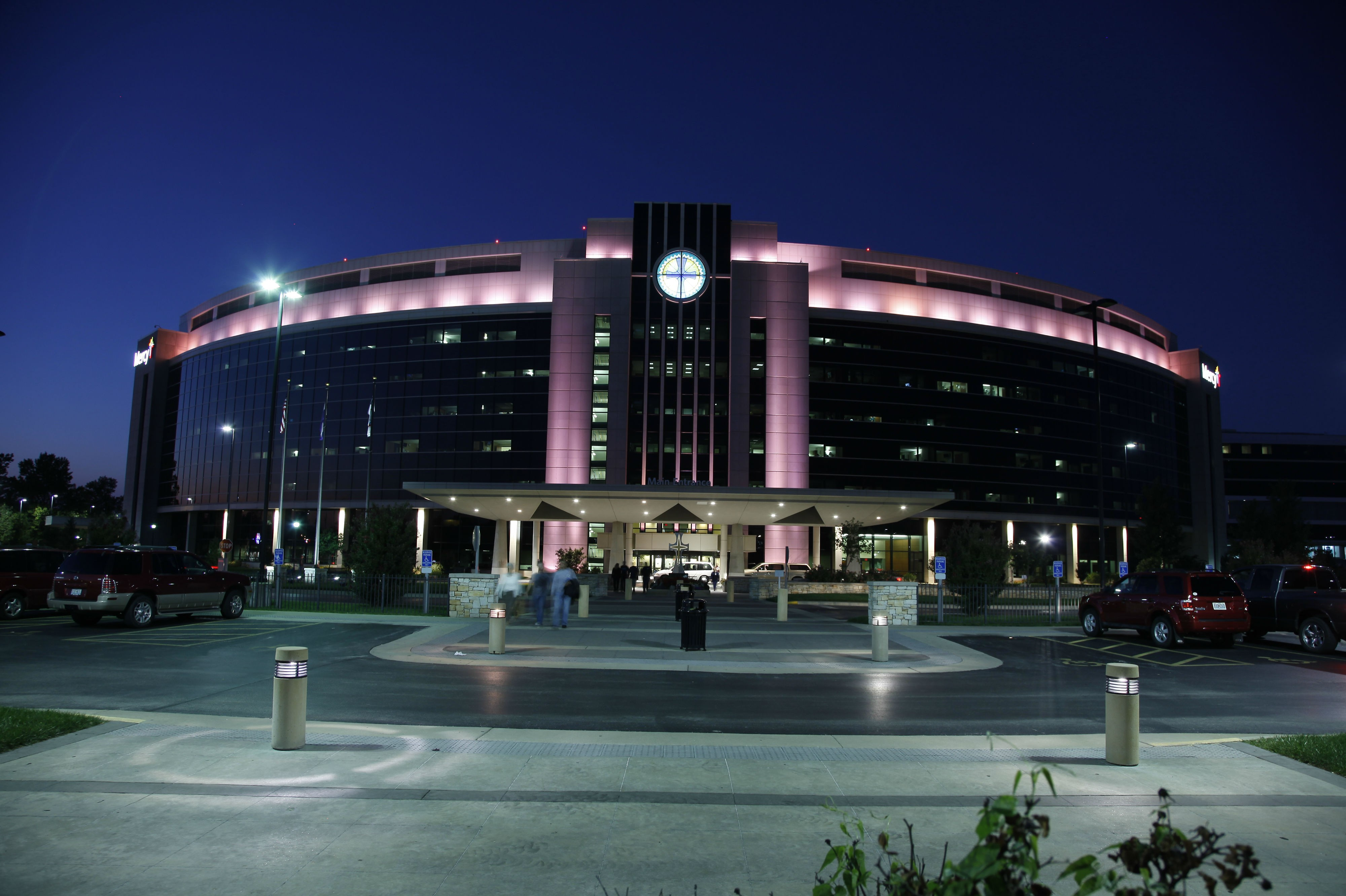 Mercy Hospital Springfield turns its lights pink for Breast Cancer Awareness Month.