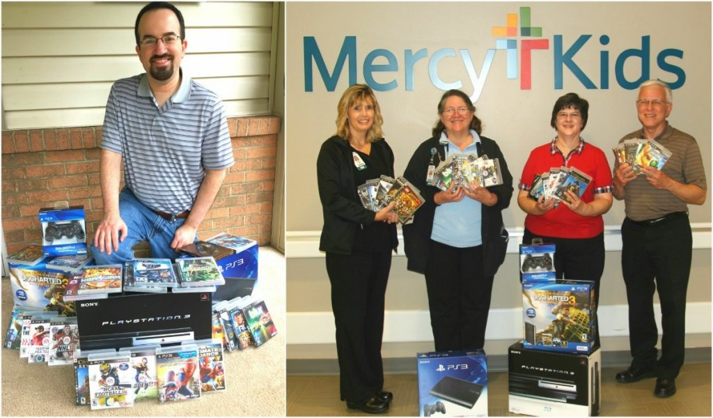 Mark Rychcik, left, shows three PlayStation 3 systems and games that he donated. His parents, Joe and Peg Rychcik, far right, delivered the gift to Mercy Hospital Joplin's pediatric unit. Accepting the donation, from left, are Kathy Cowley, birthing center and pediatrics manager, and Sandra Henry, a charge registered nurse in pediatrics who also worked at St. John's Regional Medical Center in 1996, when Mark Rychcik was a patient.