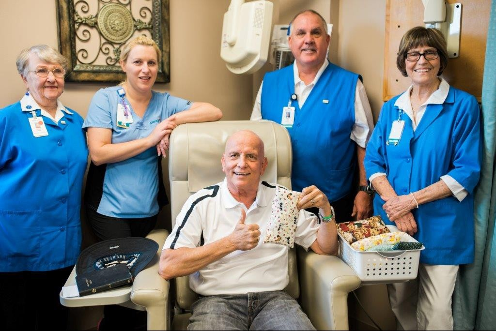 "Mercy Volunteers began making ""port pillows"" over the summer to help relieve seatbelt pressure on patients' chemotherapy ports."