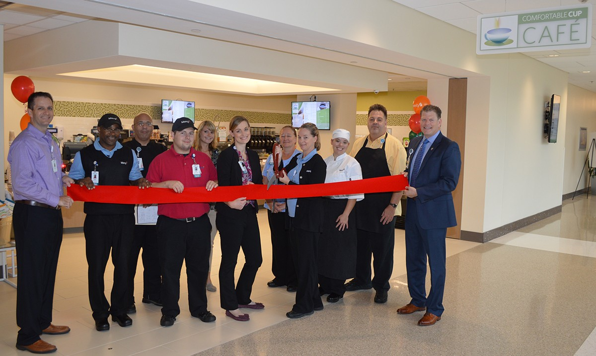 Mercy leaders and nutrition services staff opened the new cafe with a ribbon cutting ceremony.