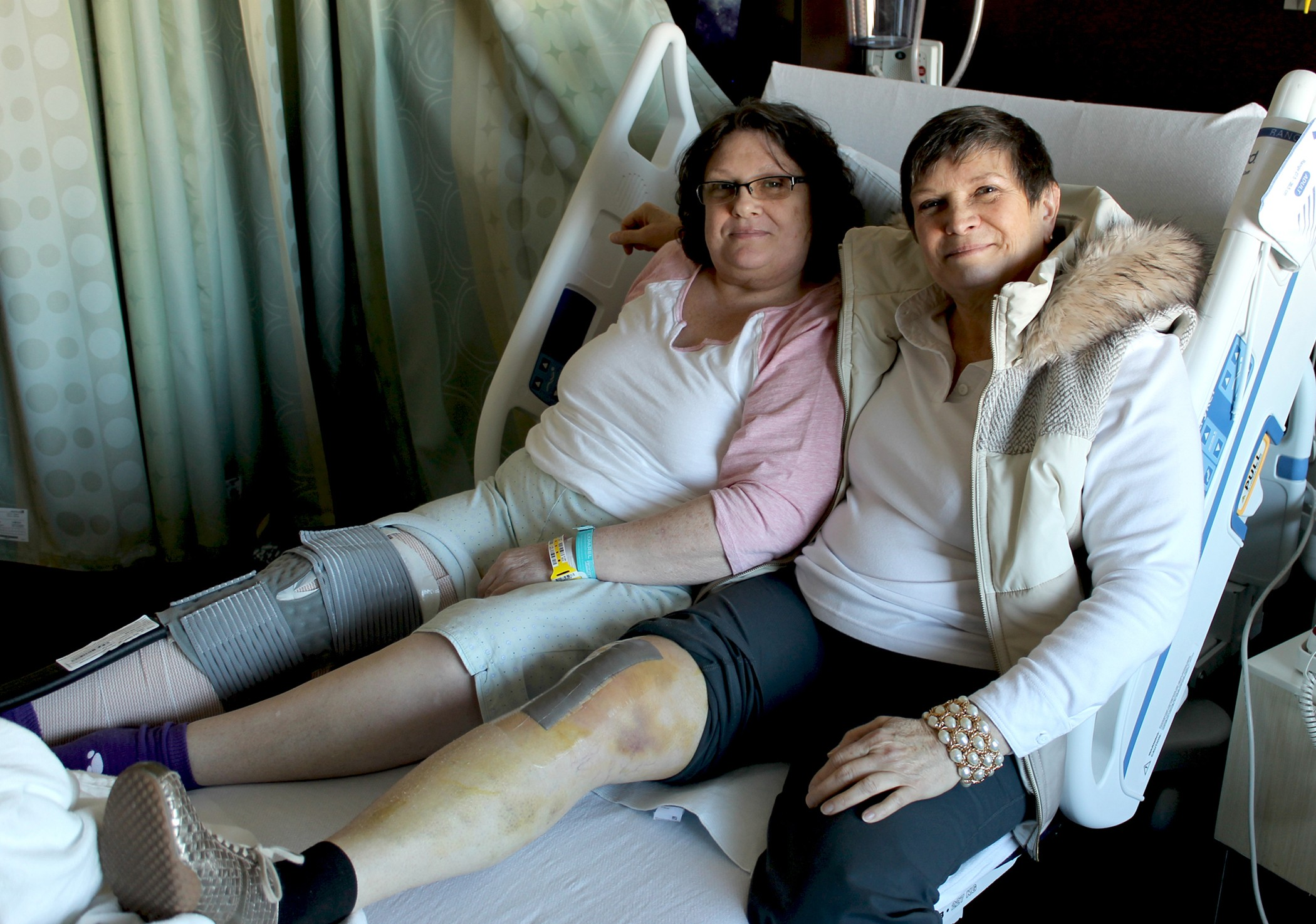 "Sisters Jan Senkbeil and Judy Howell reunited to have knee replacements at Mercy Orthopedic Hospital Springfield. The sisters work for different companies that send their employees to ""Centers of Excellence,"" like Mercy, for joint replacements."