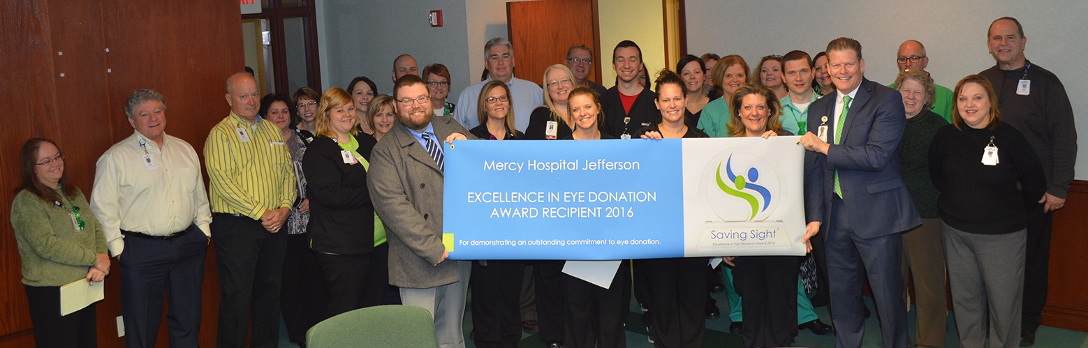 Several members of the Mercy Jefferson leadership team were on hand for the Saving Sight award presentation.