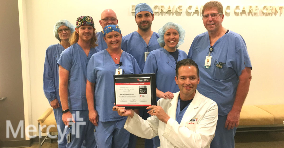 Dr. Jose De Hoyas and several members of the cardiology team represent just some of the co-workers who helped Mercy Hospital Joplin receive the American Heart Association's Mission: Lifeline® Silver Receiving Quality Achievement Award.