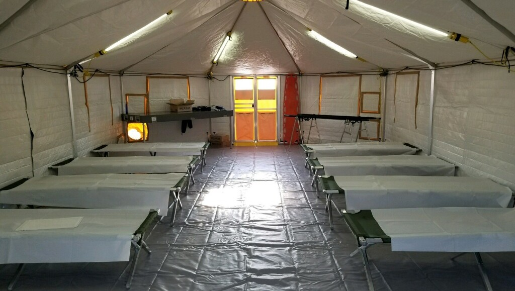Inside of the tents used by the National Disaster Medical System teams after Hurricane Harvey.