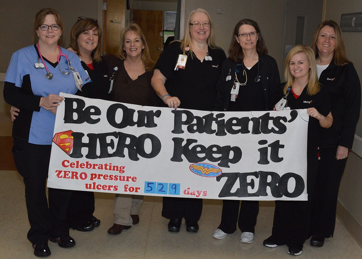 The second floor east nursing unit at Mercy Jefferson has been honored for their continuous 529-day run without any hospital-acquired pressure injuries.