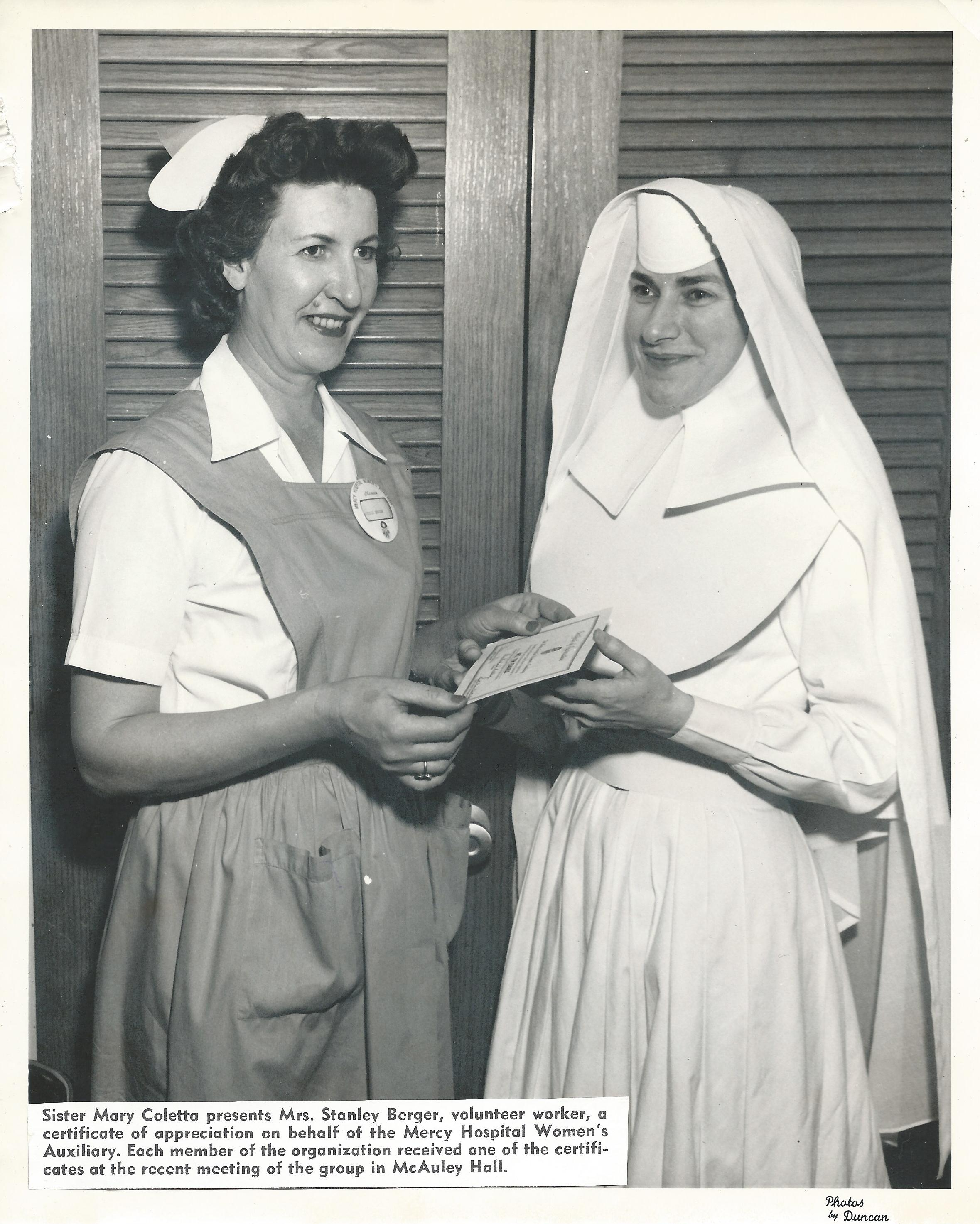 Volunteer with Sister Coletta 1958