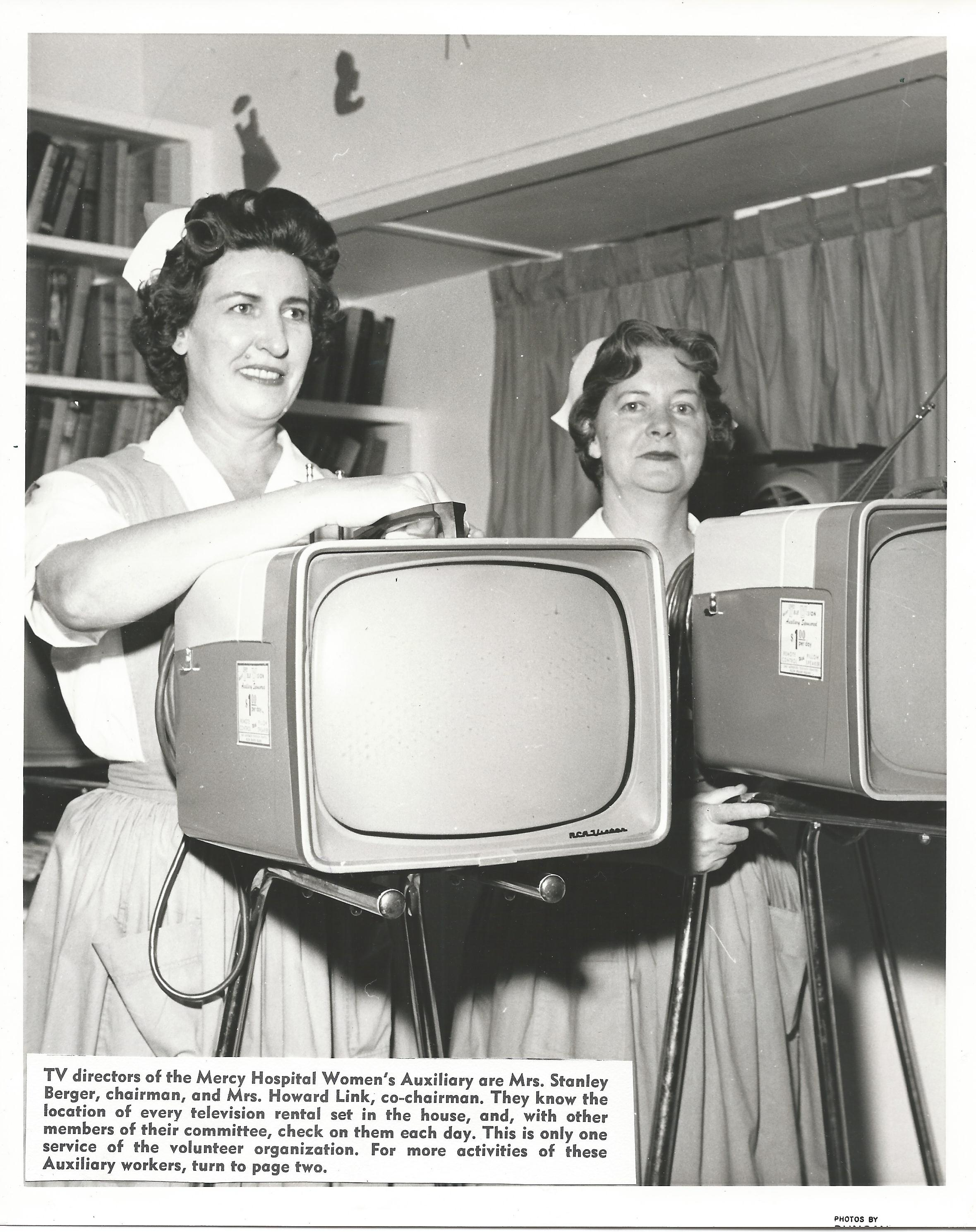 Volunteers with television rental